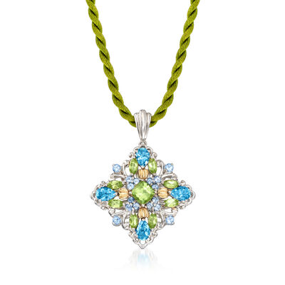 C. 1980 Vintage 2.30 ct. t.w. Blue Topaz and 1.90 ct. t.w. Peridot Pendant Necklace in Sterling Silver with 14kt Yellow Gold, , default