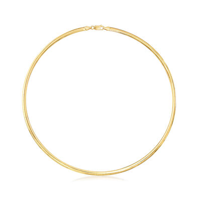 Italian 4mm 18kt Gold Over Sterling Omega Necklace