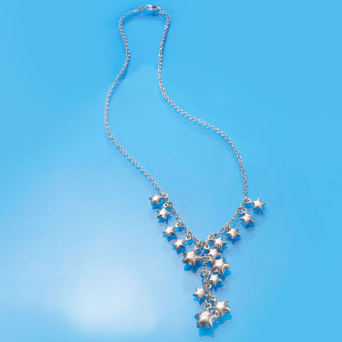 Italian Sterling Silver Star Charm Y-Necklace