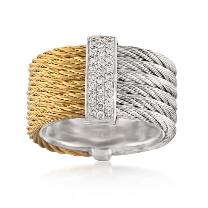 """ALOR """"Classique"""" .23 ct. t.w. Diamond Two-Tone Stainless Steel Cable Ring with 18kt White Gold. Size 7, , default"""