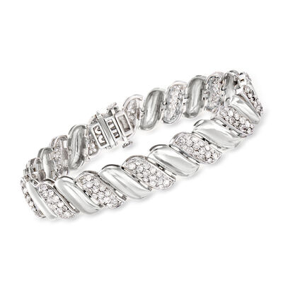 5.00 ct. t.w. Diamond Link Bracelet in 14kt White Gold, , default