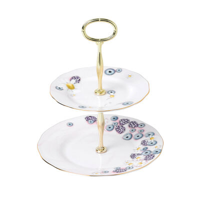 "Royal Albert ""Alpha Foodie"" Two-Tier Cake Stand in Pink, , default"
