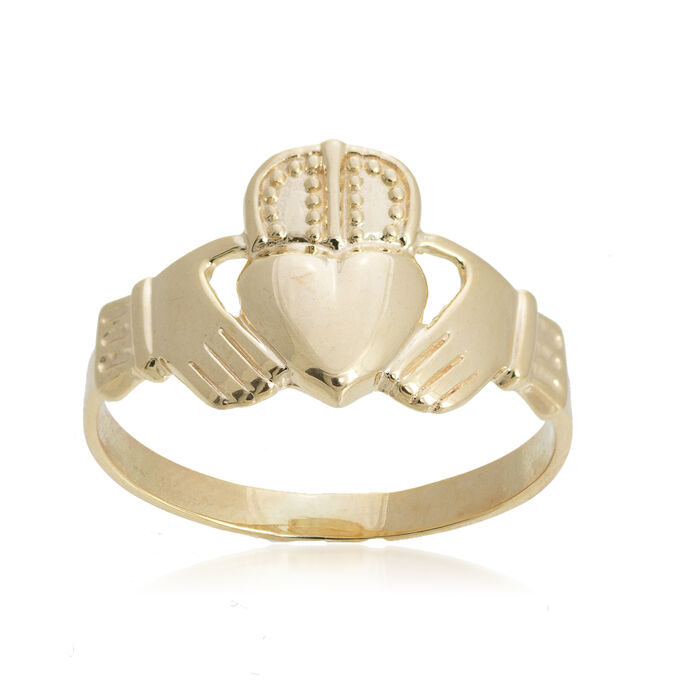 Men's 14kt Yellow Gold Claddagh Ring. Size 10