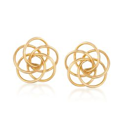 14kt Yellow Gold Open Love Knot Earring Jackets, , default