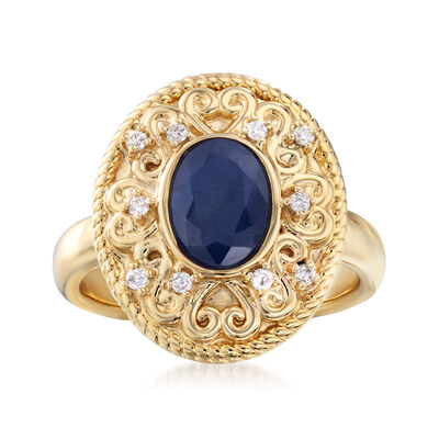 1.80 Carat Sapphire and .10 ct. t.w. Diamond Ring in 14kt Yellow Gold, , default