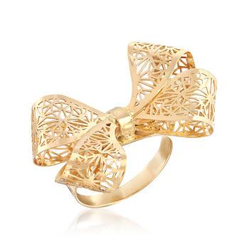 Italian 14kt Yellow Gold Filigree Bow Ring, , default