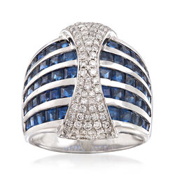 4.60 ct. t.w. Sapphire and .63 ct. t.w. Diamond Multi-Row Ring in 18kt White Gold, , default