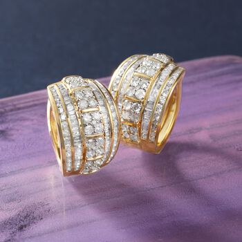 "3.00 ct. t.w. Round and Baguette Diamond Hoop Earrings in 18kt Gold Over Sterling. 3/4"", , default"