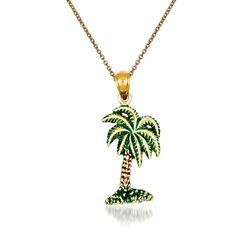 "14kt Yellow Gold Palm Tree Pendant Necklace. 18"", , default"