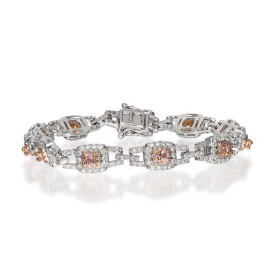 4.24 ct. t.w. Pink and White Diamond Bracelet in 18kt Two-Tone Gold