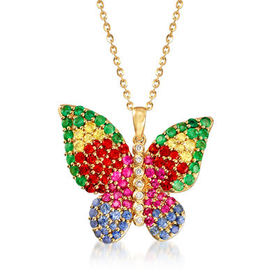 2.40 ct. t.w. Multicolored Sapphire, .80 ct. t.w. Emerald and .17 ct. t.w. Diamond Butterfly Pendant Necklace in 18kt Yellow Gold, , default