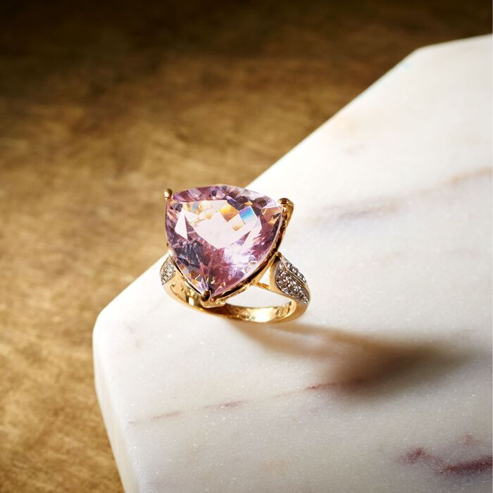 10.00 Carat Amethyst and .20 ct. t.w. White Topaz Ring in 14kt Gold Over Sterling