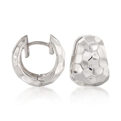 "Zina Sterling Silver ""Sahara"" Hammered Hoop Earrings, , default"