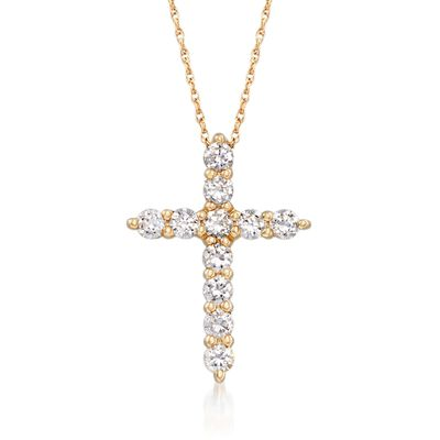 .55 ct. t.w. CZ Cross Pendant Necklace in 14kt Yellow Gold, , default