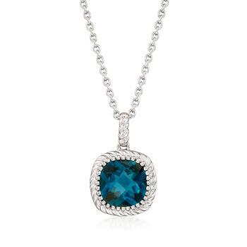 "5.00 Carat London Blue Topaz Pendant Necklace in Sterling Silver. 18"", , default"