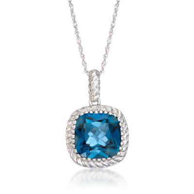 5.00 Carat London Blue Topaz Pendant Necklace in Sterling Silver, , default