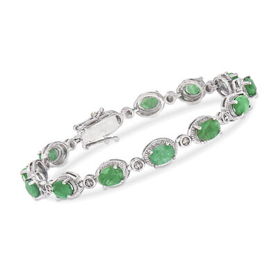9.10 ct. t.w. Emerald Bracelet in Sterling Silver