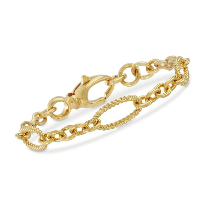 Italian Andiamo 14kt Yellow Gold Twisted Oval and Circle-Link Bracelet. 7.5""