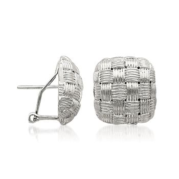 Sterling Silver Basketweave Square Dome Earrings, , default