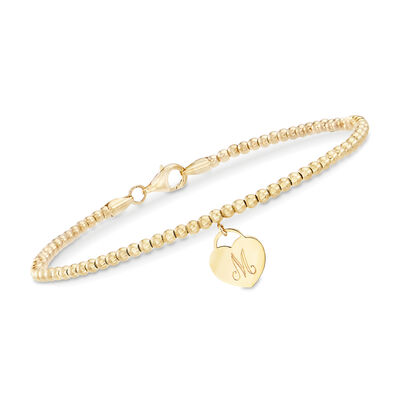 14kt Yellow Gold Bead Bracelet with Engravable Heart Charm, , default