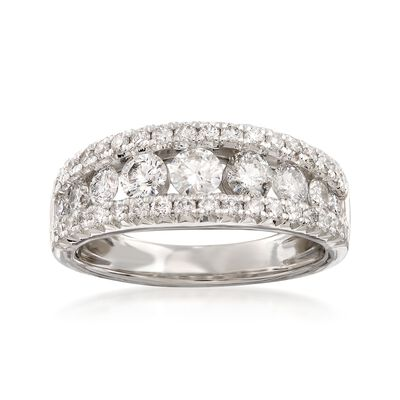 1.50 ct. t.w. Diamond Three-Row Ring in 14kt White Gold, , default