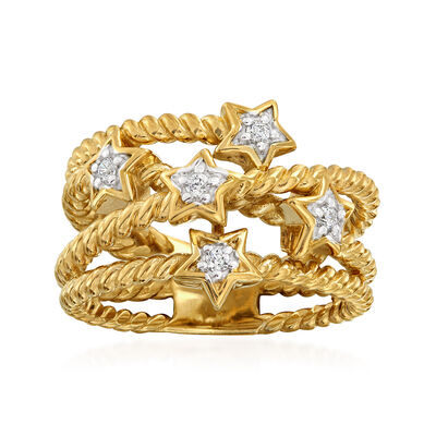 .15 ct. t.w. Diamond Star Crisscross Ring in 18kt Gold Over Sterling, , default