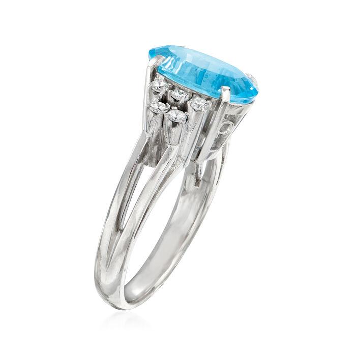 C. 2000 Vintage 1.90 Carat Aquamarine and .25 ct. t.w. Diamond Ring in Platinum