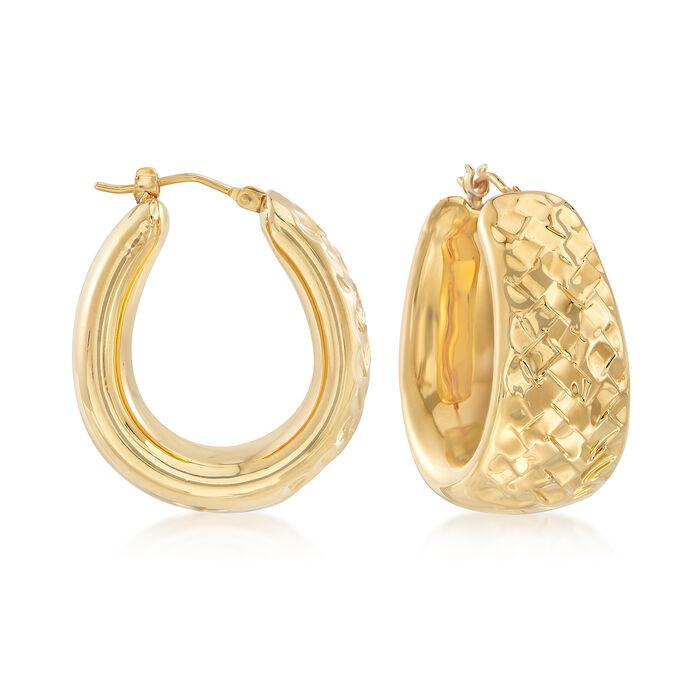 Andiamo 14kt Yellow Gold Textured Hoop Earrings, , default