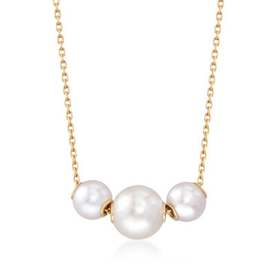 Mikimoto 5.5.-7.5mm A+ Akoya Pearl Necklace in 18kt Yellow Gold, , default