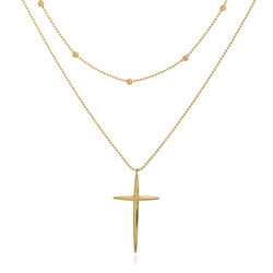 14kt Yellow Gold Diamond-Accented Cross Two-Strand Necklace, , default