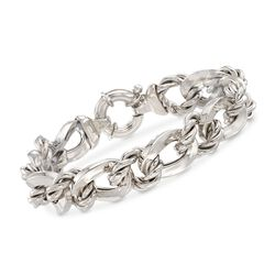 Italian Sterling Silver Twisted and Curb-Link Bracelet, , default