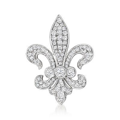 1.00 ct. t.w. Diamond Fleur-De-Lis Pin in Sterling Silver, , default