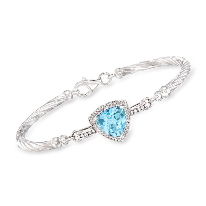 4.50 Carat Blue Topaz and .14 ct. t.w. Diamond Twisted Bracelet in Sterling Silver, , default