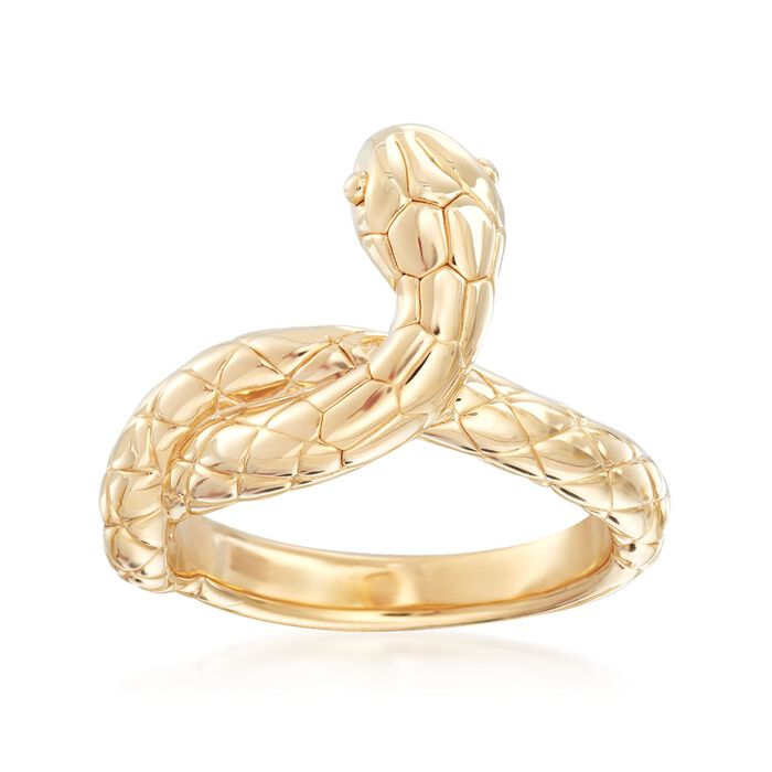 14kt Yellow Gold Snake Ring, , default