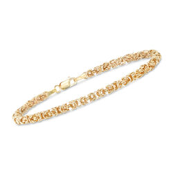 Italian 14kt Yellow Gold Byzantine Bracelet With Rolled Edges Default