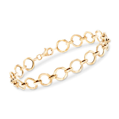 14kt Yellow Gold Circle-Link Bracelet, , default