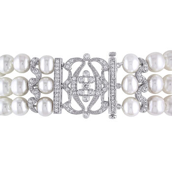"""7-8mm Cultured Pearl and .85 ct. t.w. CZ Multi-Row Bracelet with Sterling Silver. 7"""", , default"""
