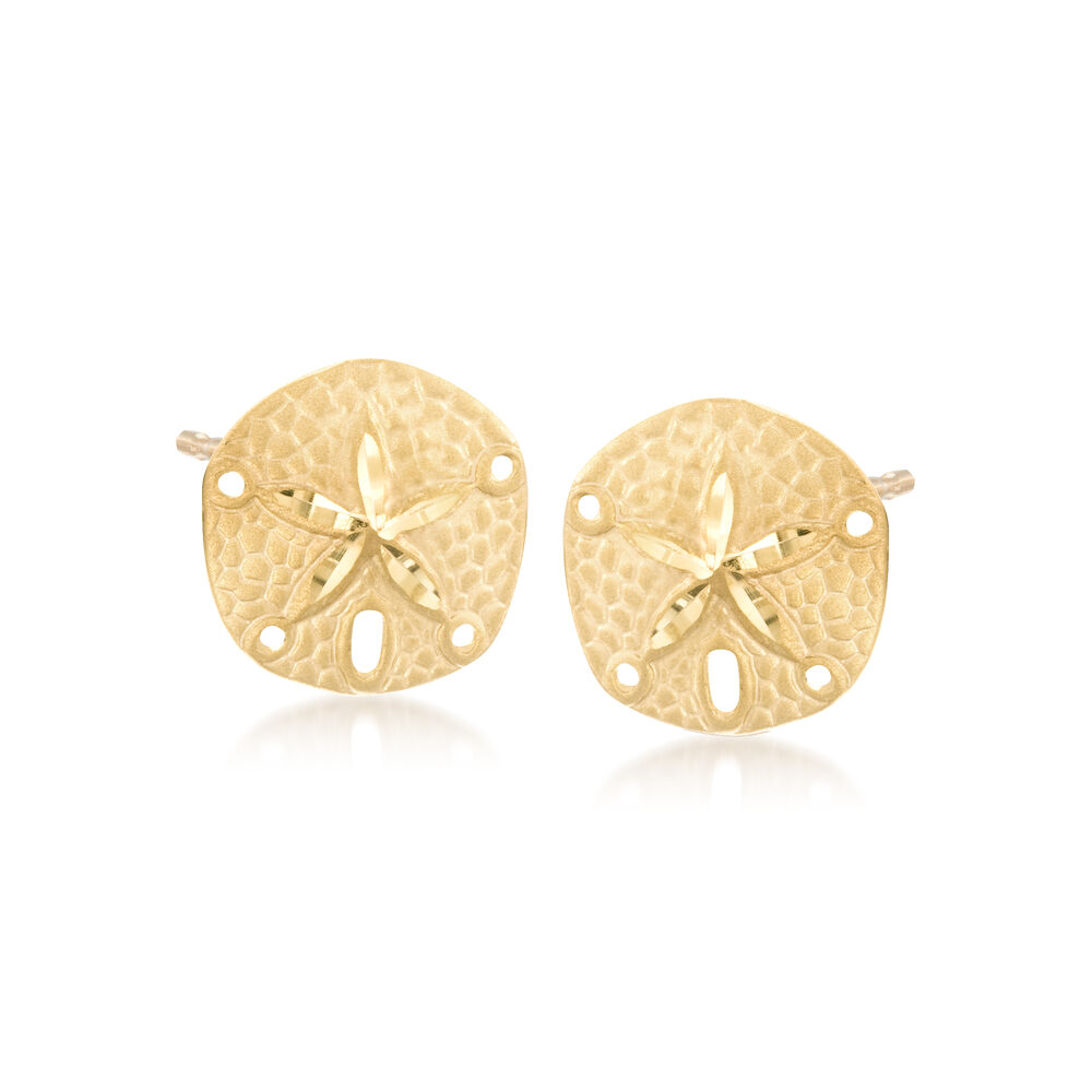 14kt Yellow Gold Sand Dollar Earrings Default