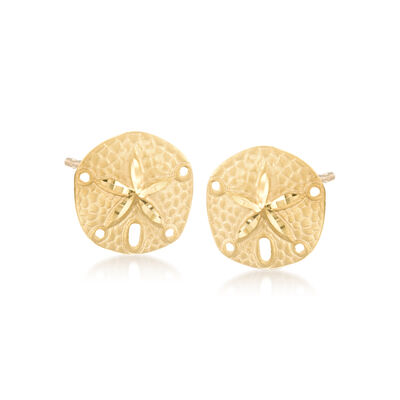 14kt Yellow Gold Sand Dollar Earrings , , default