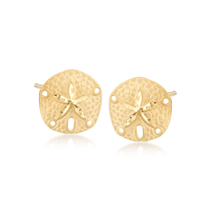 14kt Yellow Gold Sand Dollar Earrings , , default