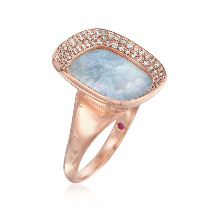 """Roberto Coin """"Carnaby Street"""" .65 ct. t.w. Diamond and Mother-Of-Pearl Ring in 18kt Rose Gold"""