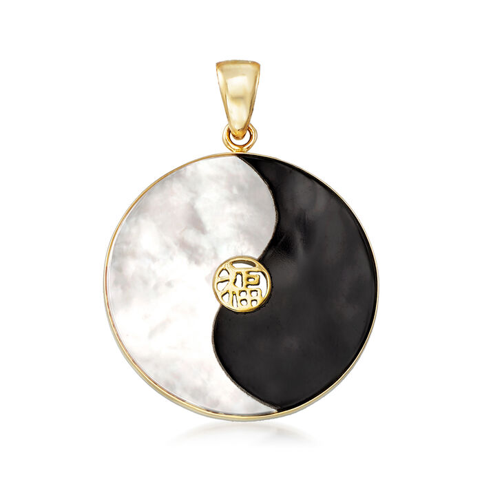 Mother-Of-Pearl and Black Agate Yin-Yang Pendant in 14kt Yellow Gold. Pendant
