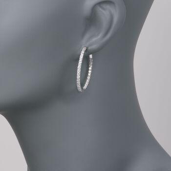 """2.05 ct. t.w. Diamond Inside-Outside Hoop Earrings in 14kt White Gold. 1 1/4"""", , default"""
