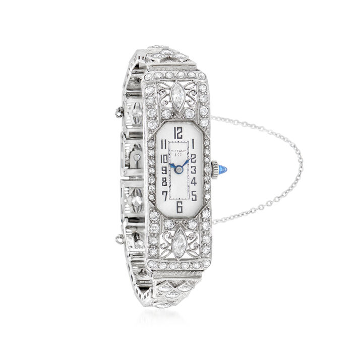 C. 1940 Vintage Tiffany Jewelry Women's 3.15 ct. t.w. Diamond and .15 Carat Synthetic Sapphire 14mm Watch in 14kt White Gold. Size 6.25, , default