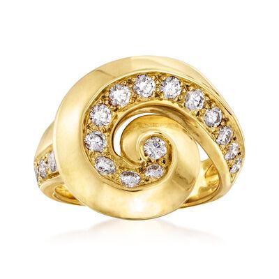 C. 1980 Vintage Van Cleef & Arpels .70 ct. t.w. Diamond Swirl Ring in 18kt Yellow Gold