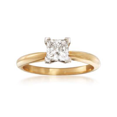 1.00 Carat Princess-Cut Diamond Ring in 18kt Yellow Gold