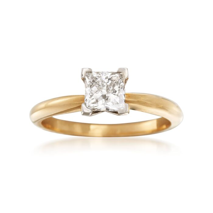 1.00 Carat Princess-Cut Diamond Ring in 18kt Yellow Gold. Size 7.5