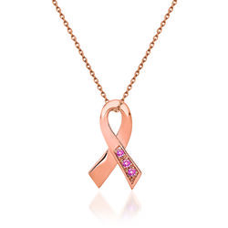 """.10 ct. t.w. Pink Tourmaline Breast Cancer Awareness Pendant Necklace in 14kt Rose Gold. 18"""", , default"""