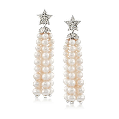 3-4.5mm Cultured Pearl Tassel and .15 ct. t.w. Diamond Star Drop Earrings in Sterling Silver, , default