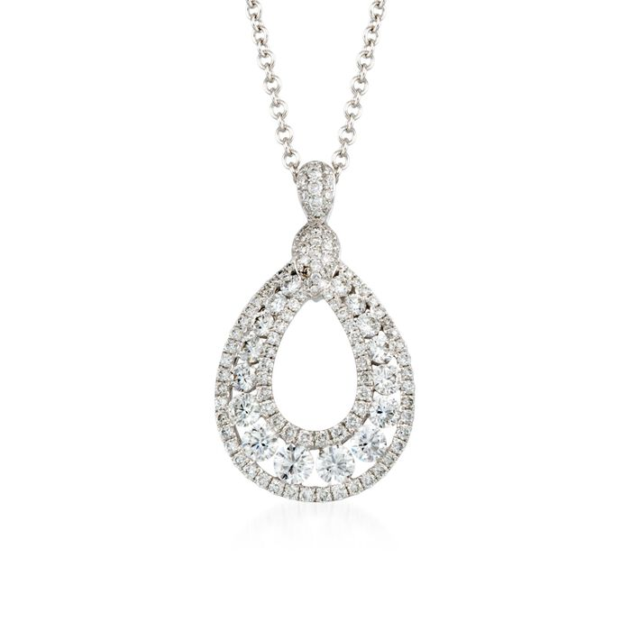 "Gregg Ruth 1.50 ct. t.w. Diamond Pendant Necklace in 18kt White Gold. 18"", , default"